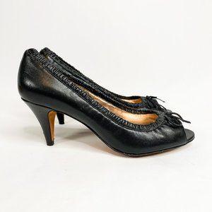 ARTURO CHIANG Black Leather Ballet Peep Toe Heels